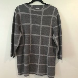 Eileen Fisher Merino Windowpane Tunic Sweater